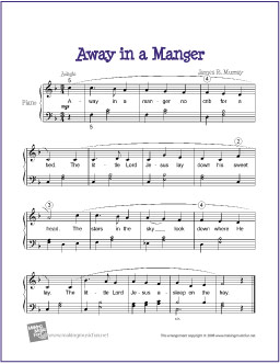 photo regarding Free Printable Christmas Sheet Music for Piano titled Absent within a Manger Cost-free Printable Very simple Piano Sheet New music