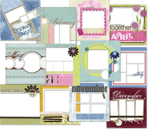 Digital Scrapbook Pages For 12 Month Calendar