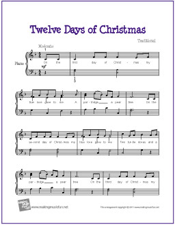 graphic regarding Free Printable Christmas Sheet Music for Piano identify The 12 Times of Xmas Cost-free Printable Xmas