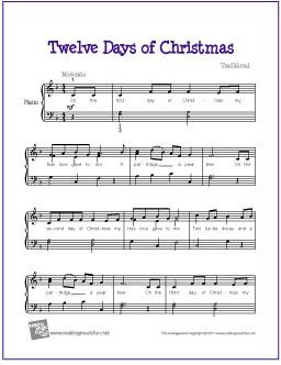 graphic regarding Free Printable Christmas Sheet Music for Piano identify The 12 Times of Xmas Cost-free Printable Xmas