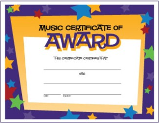 Music award certificates free printable my favorite freebies music certificate stars yadclub Choice Image