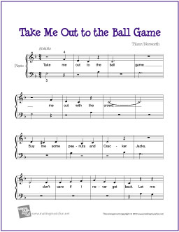 picture about Piano Sheet Music for Beginners Popular Songs Free Printable named Just take Me Out in direction of the Ball Sport Totally free Very simple Piano Sheet New music