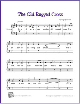 picture about Printable Hymns Sheet Music titled The Outdated Rugged Cross No cost Printable Piano Sheet New music My