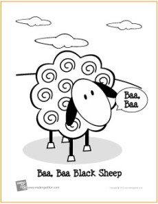 Baa baa black sheep free nursery rhyme coloring sheet for Baa baa black sheep coloring page