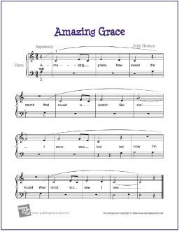 Free Amazing Grace Easylevel 1 Beginner Piano Sheet Music