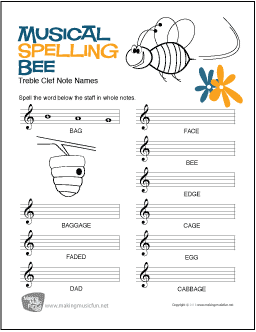 Musical Spelling Bee Free Treble Clef Note Name Worksheet My Favorite Freebies